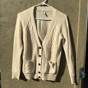 Forever 21 Cream Cable Knit Cardigan